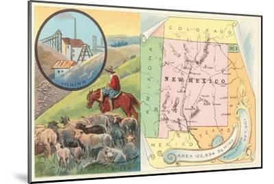 New Mexico Map, Sheep, Mining--Mounted Art Print
