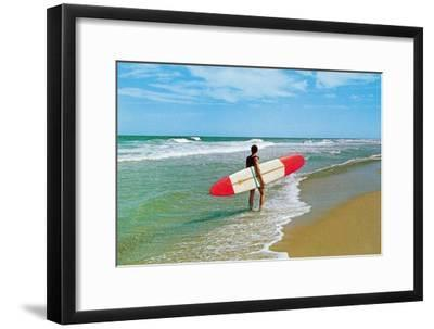 Surfer with Long Board, Retro--Framed Art Print
