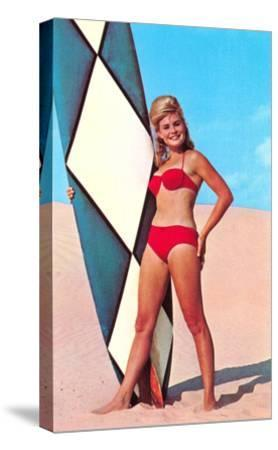 Gidget with Long Board, Retro--Stretched Canvas Print