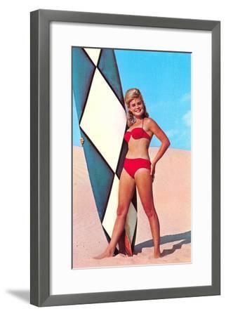 Gidget with Long Board, Retro--Framed Art Print