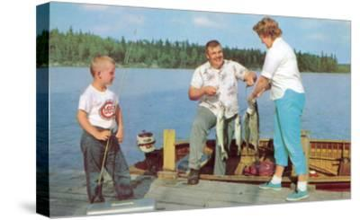Family Fishing on Midwestern Lake, Retro--Stretched Canvas Print