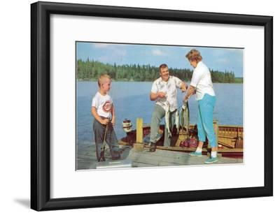 Family Fishing on Midwestern Lake, Retro--Framed Art Print