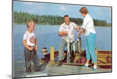 Family Fishing on Midwestern Lake, Retro--Mounted Art Print