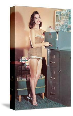 Woman in Bathing Suit with File Cabinet, Retro--Stretched Canvas Print
