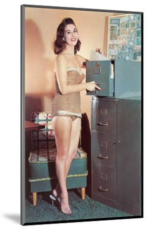 Woman in Bathing Suit with File Cabinet, Retro--Mounted Art Print