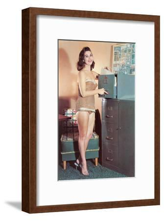 Woman in Bathing Suit with File Cabinet, Retro--Framed Art Print
