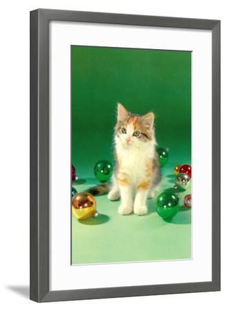 Kitten with Christmas Bulbs, Retro--Framed Art Print