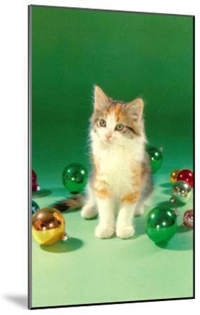 Kitten with Christmas Bulbs, Retro--Mounted Art Print