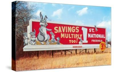 Billboard for Savings, Rabbits--Stretched Canvas Print