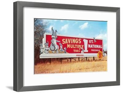 Billboard for Savings, Rabbits--Framed Art Print