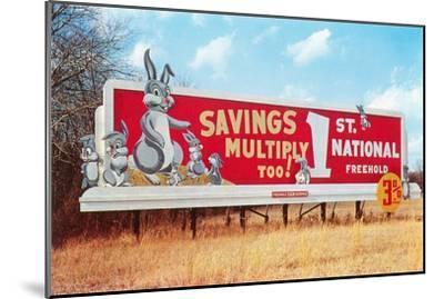 Billboard for Savings, Rabbits--Mounted Art Print
