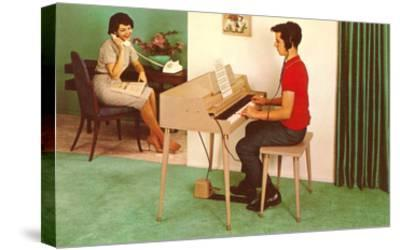 Son on the Silent Electric Organ, Retro--Stretched Canvas Print
