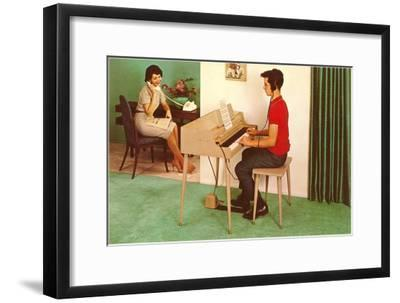 Son on the Silent Electric Organ, Retro--Framed Art Print