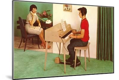 Son on the Silent Electric Organ, Retro--Mounted Art Print