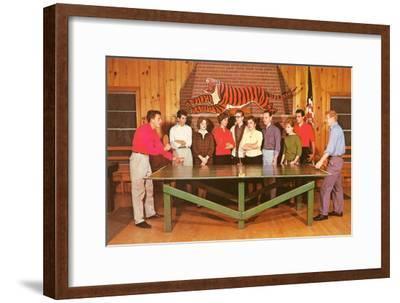 Ping-Pong Tournament, Retro--Framed Art Print