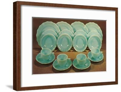 Milk Glass Place Settings, Retro--Framed Art Print