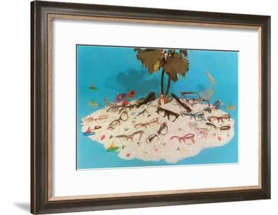 Eyeglasses on Simulated Desert Island--Framed Art Print