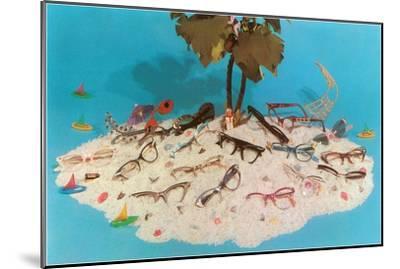 Eyeglasses on Simulated Desert Island--Mounted Art Print