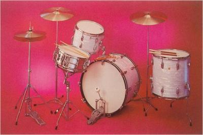 Drum Set with Pink Background--Stretched Canvas Print