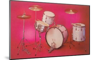 Drum Set with Pink Background--Mounted Art Print