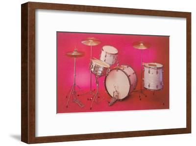 Drum Set with Pink Background--Framed Art Print