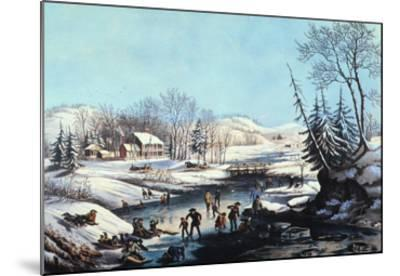 Winter Scene: Morning 1854-Currier & Ives-Mounted Giclee Print