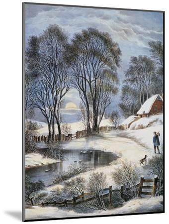 Currier & Ives: Winter Moonlight-Currier & Ives-Mounted Giclee Print