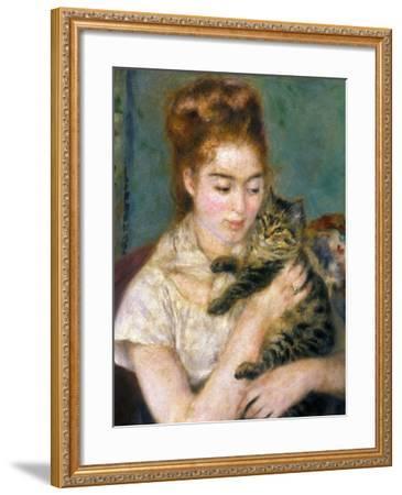 Renoir: Woman With A Cat-Pierre-Auguste Renoir-Framed Giclee Print