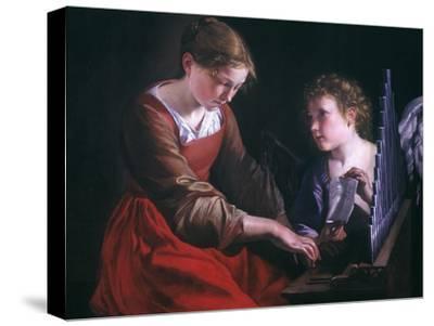 St. Cecilia And An Angel-Orazio Gentileschi-Stretched Canvas Print