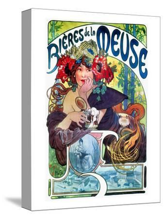 Beer Ad By Mucha, C1897-Alphonse Mucha-Stretched Canvas Print
