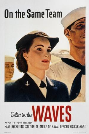 WWII: Waves Poster--Stretched Canvas Print