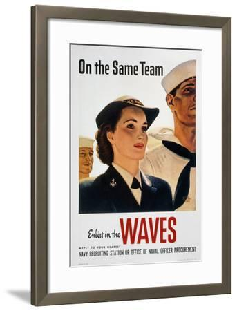 WWII: Waves Poster--Framed Giclee Print