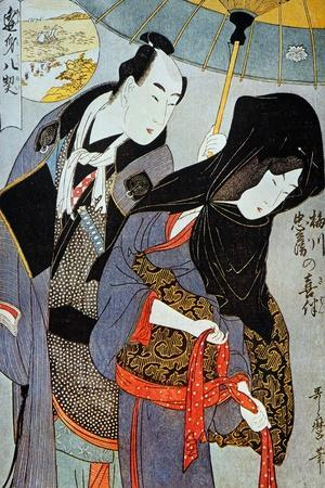 Utamaro: Lovers, 1797-Kitagawa Utamaro-Stretched Canvas Print