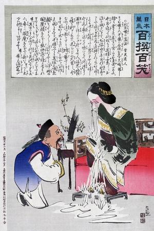 Chinese Cartoon, C1895-Kiyochika Kobayashi-Stretched Canvas Print