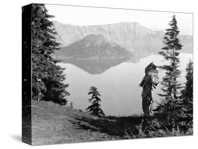Klamath Chief, C1923-Edward S^ Curtis-Stretched Canvas Print