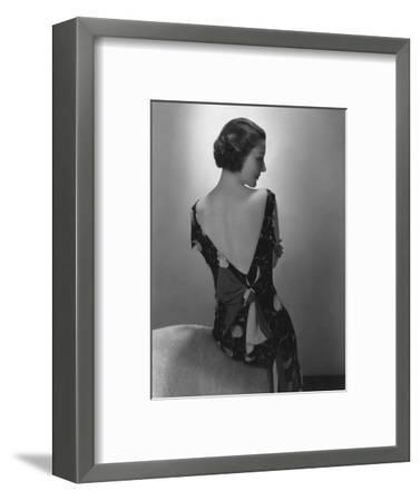Vogue - February 1934 - Model in Printed Dress with Low-Cut Back-Edward Steichen-Framed Premium Photographic Print