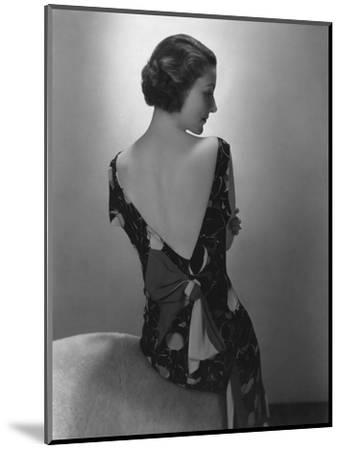 Vogue - February 1934 - Model in Printed Dress with Low-Cut Back-Edward Steichen-Mounted Premium Photographic Print