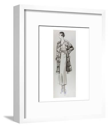 Vogue - June 1934 - Woman in Striped Coat-Lemon-Framed Premium Giclee Print