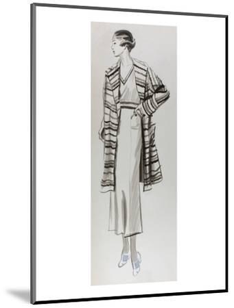 Vogue - June 1934 - Woman in Striped Coat-Lemon-Mounted Premium Giclee Print
