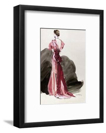 Vogue - October 1934 - Red Vionnet Evening Gown-Ren? Bou?t-Willaumez-Framed Premium Giclee Print