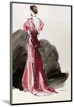 Vogue - October 1934 - Red Vionnet Evening Gown-Ren? Bou?t-Willaumez-Mounted Premium Giclee Print