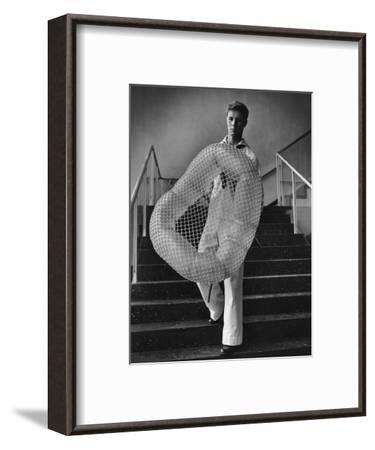 Vogue - July 1944 - William Miller Carrying a Chair he Designed-Karger-Pix-Framed Premium Photographic Print