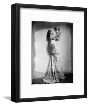 Vogue - April 1948 - Model Gazing in Hand Mirror-Cecil Beaton-Framed Premium Photographic Print