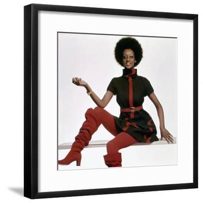 Vogue - November 1969 - Bill Blass Turtleneck Dress-Gianni Penati-Framed Premium Photographic Print