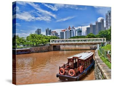 Skyline and Tug Boats on River, Singapore-Bill Bachmann-Stretched Canvas Print