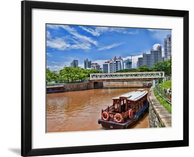 Skyline and Tug Boats on River, Singapore-Bill Bachmann-Framed Photographic Print