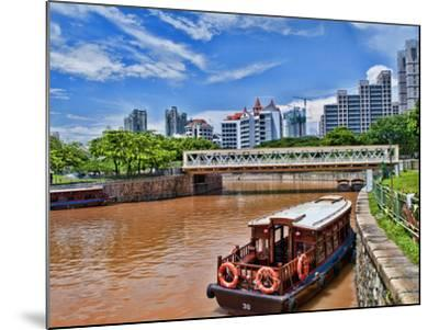 Skyline and Tug Boats on River, Singapore-Bill Bachmann-Mounted Photographic Print