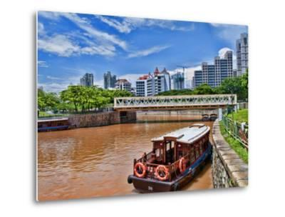 Skyline and Tug Boats on River, Singapore-Bill Bachmann-Metal Print