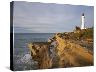 Castle Point Lighthouse, Castlepoint, Wairarapa, North Island, New Zealand-David Wall-Stretched Canvas Print
