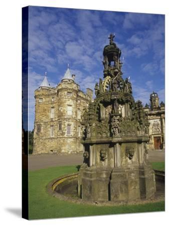 Fountain on the Grounds of Holyroodhouse Palace, Edinburgh, Scotland-Christopher Bettencourt-Stretched Canvas Print